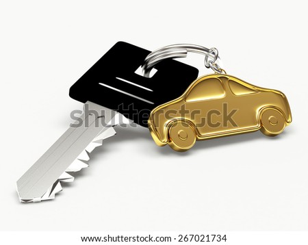 Key with golden car figure isolated on white background - stock photo