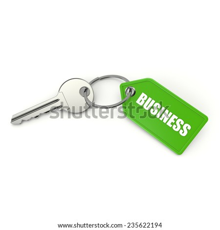 Key with green business shield on white background - stock photo