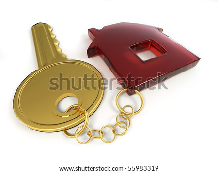 Key with home. 3d - stock photo