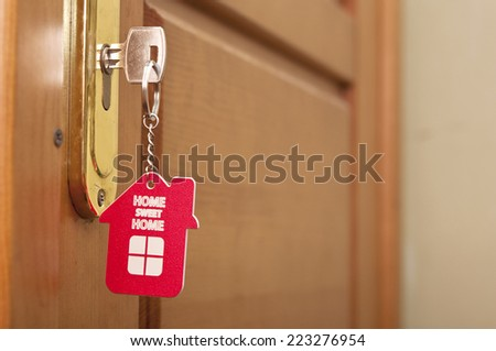 key with label home - stock photo