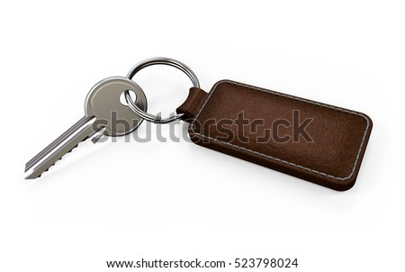 Key with leather fob on white background 3D rendering