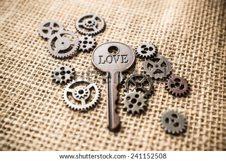 Key with love written on it surrounded by gears. - stock photo