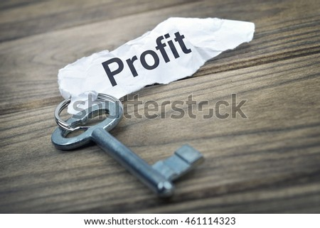 Key with message Profit on wooden table