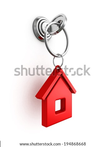 key with red house trinket in keyhole. real estate concept 3d render illustration - stock photo