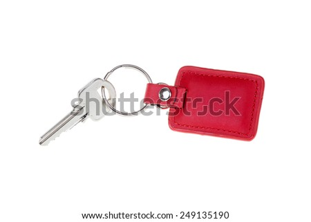 key with red Leather keychain isolated on white