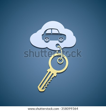 Key with trinket from the car. Flat graphics. Stock illustration. - stock photo