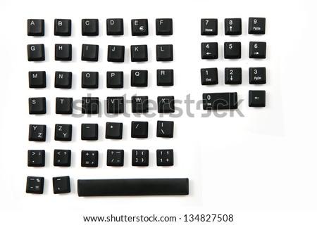 keyboard - alphabet, numbers,  keyboard keys combined in a single image - stock photo