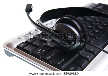 Keyboard and hands-free on a white background.