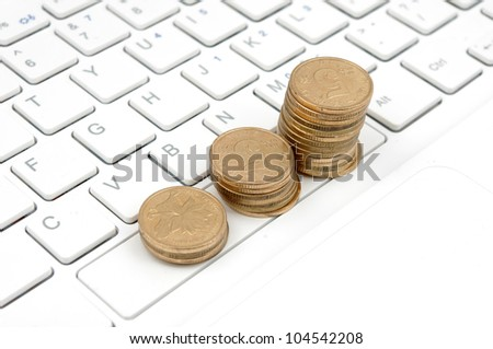 Keyboard and money (to express the concept of making money in network)