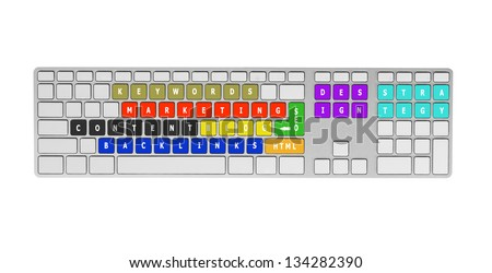 Keyboard and social media concept. Isolated on white. - stock photo