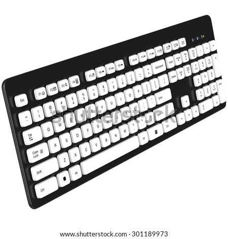 Keyboard black for PC. White buttons. The letters on the buttons. The numbers on the buttons. 3D graphic object on white background isolated