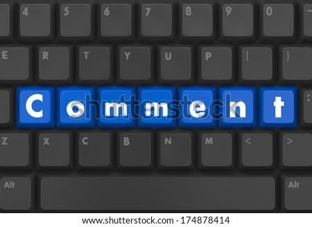 Keyboard  blue button showing the word comment like thumb up - stock photo