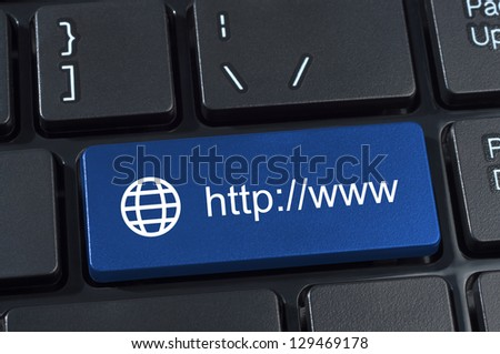 Keyboard button with Internet address http www and globe icon. - stock photo