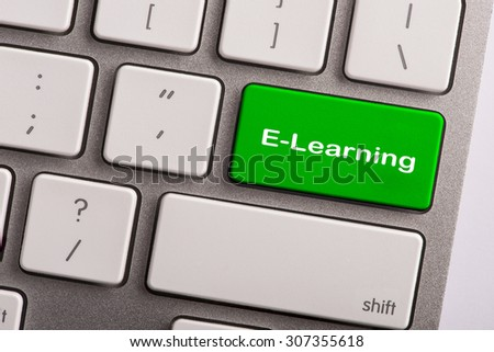 keyboard button with word e-learning - stock photo