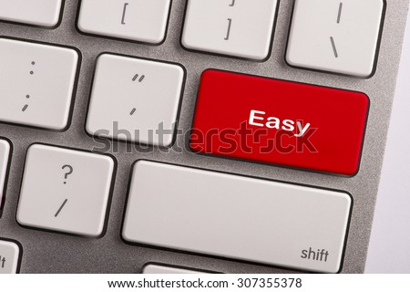 keyboard button with word easy - stock photo