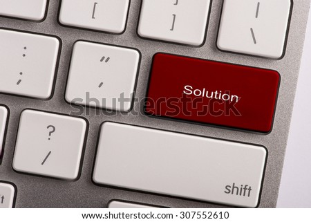 keyboard button with word solution - stock photo