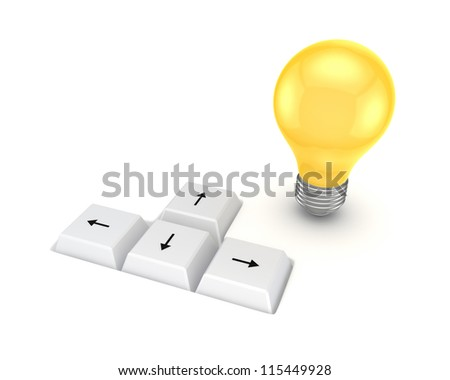 Keyboard buttons and lamp symbol.Isolated on white background.3d rendered. - stock photo
