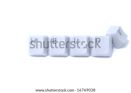 "Keyboard buttons ""help"" and ""escape"" isolated on white background"