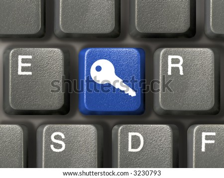 Keyboard (closeup) with blue security key