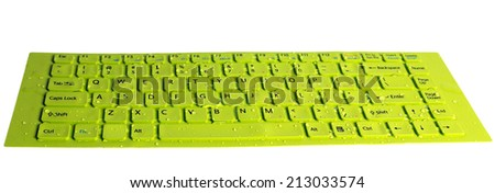 keyboard computer green field with dewdrop  - stock photo