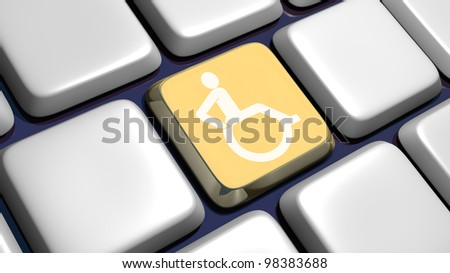Keyboard (detail) with wheelchair key - 3d made - stock photo