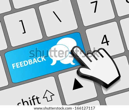 Keyboard feedback button with mouse hand cursor  illustration