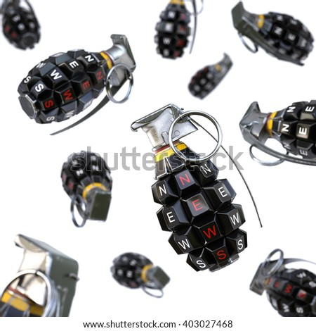 Keyboard grenade concept. Isolated on white background. 3D illustration. - stock photo