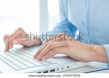 Keyboard, hands, operator. - stock photo