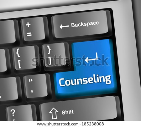 Keyboard Illustration with Counseling wording - stock photo