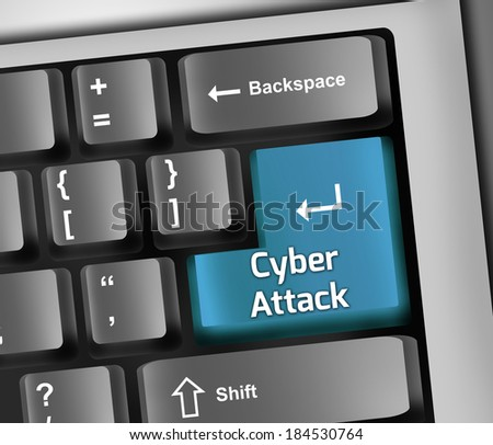 Keyboard Illustration with Cyber Attack wording - stock photo