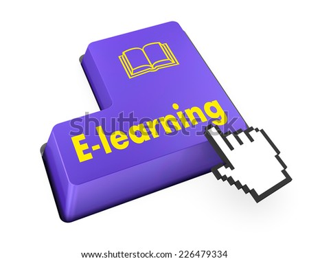 Keyboard Illustration with E-Learning wording - stock photo