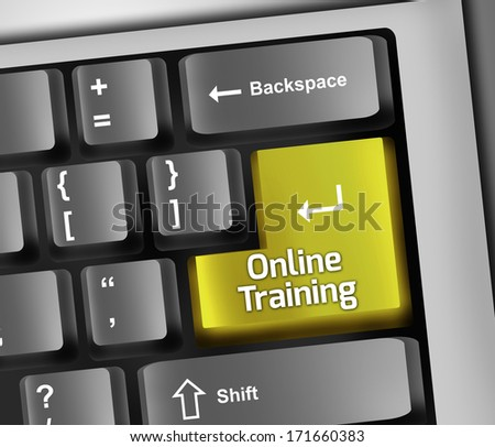 Keyboard Illustration with Online Training wording