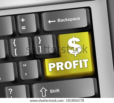 Keyboard Illustration with Profit wording