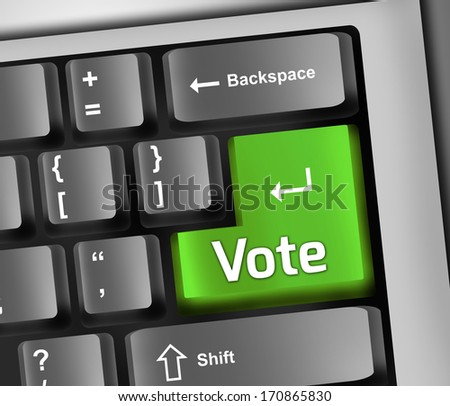 Keyboard Illustration with Vote wording - stock photo