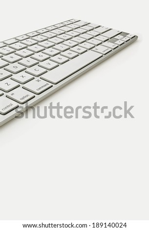 Keyboard Isolate on White Wide Angle View