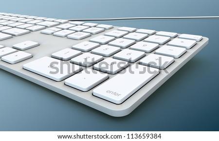 keyboard isolated on blue background - stock photo