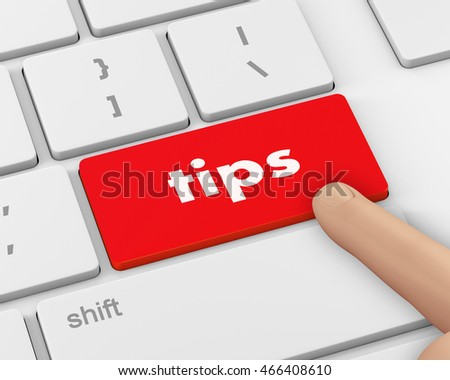keyboard key, tips button on computer pc icon, 3d rendering