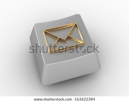 Keyboard key with gold envelop sign. - stock photo