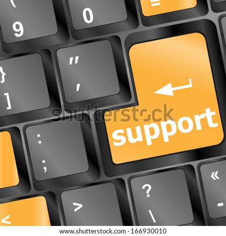 keyboard key with support button - stock photo