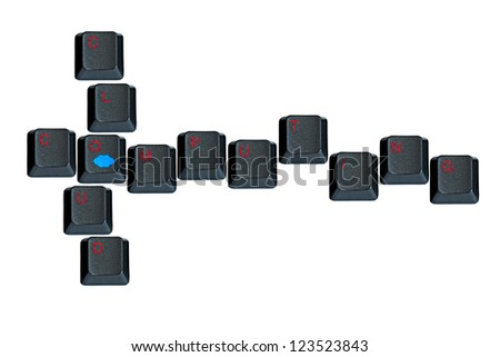 "Keyboard keys forming ""Cloud Computing"" on white background"