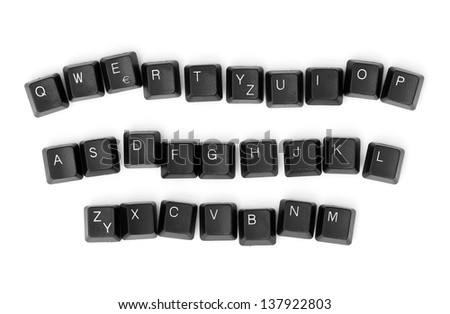 Keyboard keys isolated on a white background.