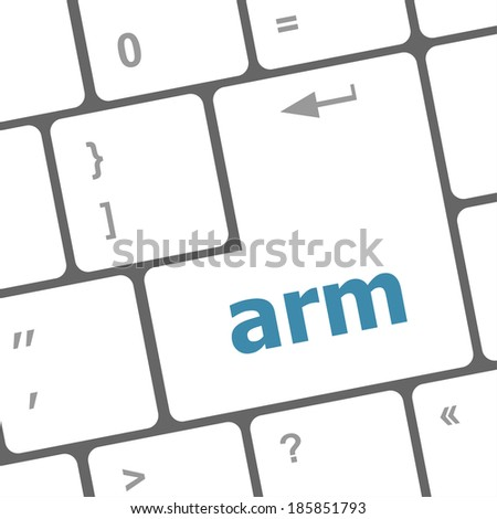 Keyboard keys with enter button, arm word on it