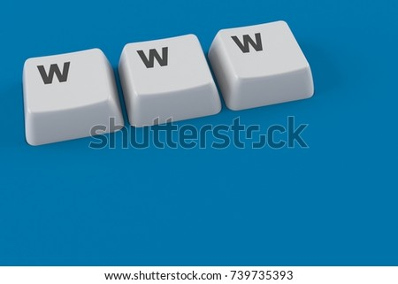 Keyboard keys with WWW text isolated on blue background. 3d illustration