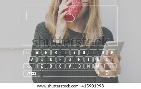 Keyboard Message Text SMS Concept - stock photo