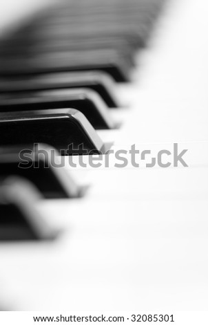 Keyboard of piano. Selective focus to one key. - stock photo