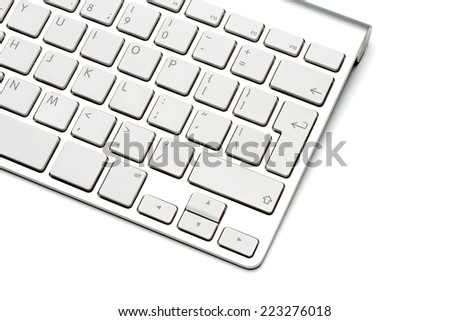 Keyboard on a white background, close-up - stock photo