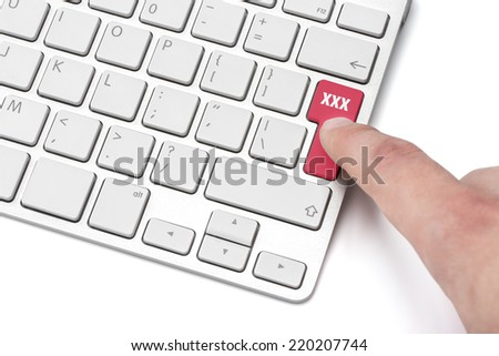 Keyboard on a white background with the words xxx
