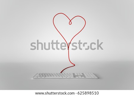 Keyboard Plugged Into Heart Symbol Concept Stock Illustration
