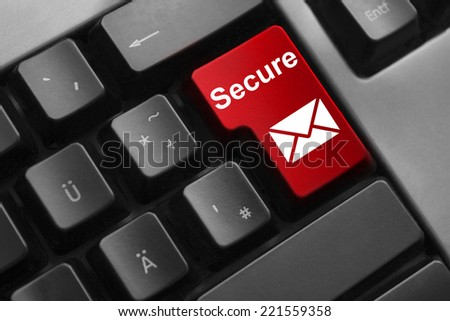 keyboard red enter button secure mail symbol - stock photo