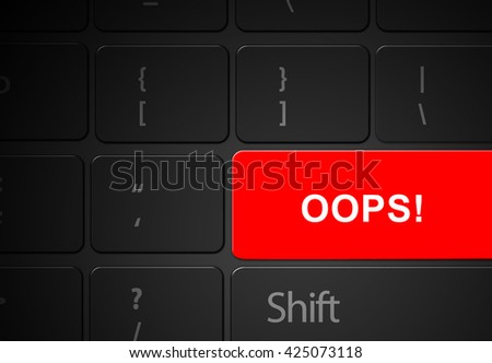 Keyboard red oops button, 3d render - stock photo